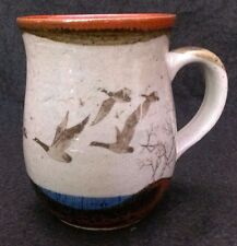 Flying Canadian Geese Scene Stoneware Coffee Tea Mug Cup Handcrafted 4 Inch
