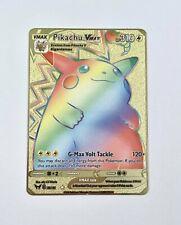 Pokemon Pikachu Gold Metal Card Custom Promo 188/185 Vmax Secret Rare Vivid