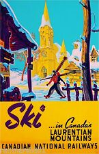 Ski Winter Canada Laurentian Mountains Canadian Travel Advertisement Art Poster