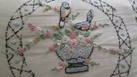 1930s 1940s Crewel Embroidery Pillow Birds Bowl Flowers W Insert 21 x 15 Pinks