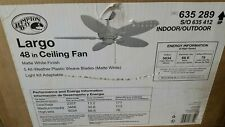 Hampton Bay Largo 48 in. Outdoor Matte White Ceiling Fan 26682 NBW