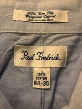 Paul Fredrick Men's Solid blue Long Sleeve Dress Shirt 100% Cotton Size 16.5-35