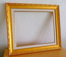 Cadre doré avec marie louise pour tableaux ~ Dorure vive ~ Format peinture 12F