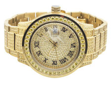 Men's Jewelry Unlimited Yellow Gold Steel Simulated Canary Diamond Watch