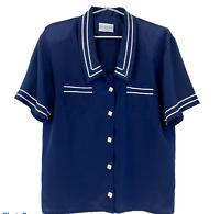 Jacqueline Eve Vintage Womens Navy/White Button Up Blouse Size 12