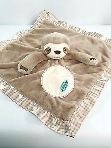 Douglas Baby Brown Cream/White Check Sloth Security Blanket Leaf Lovey Plush