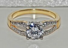 Stunning 9ct Yellow Gold & Silver 1.35ct Solitaire Engagement Ring - size M