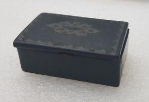 SNUFF BOX ANTIQUE WOOD? lacquer ? SMALL MINIATURE WITH SILVER COLOR  DECOR