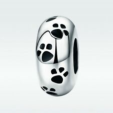 Paws Stopper- Dog footprint-Cat foot print charm bead-Solid 925 sterling silver