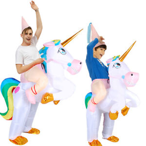 Inflatable Unicorn Costume Rider Halloween Cosplay Party Fancy Blow Up Dresses