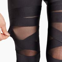 Damen Neu Legging Pants Transparent Leggings Cross Elastic Bandage Slim Leggings