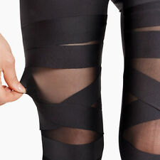 Da Donna Legging Pants Leggings trasparente croce Fascia Elastica Slim Leggings
