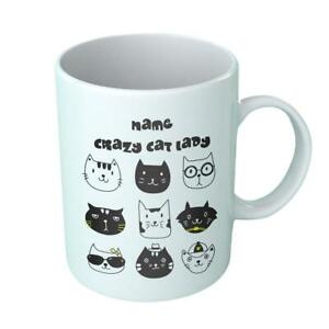 Personalized Crazy Cat Lover Coffee Mug Cup Tea Gifts coaster Funny Birthday
