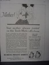 1922 Rubens Infant Shirts Bay Clothing Vintage Print Ad 12107