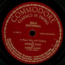 GEORGE ZACK & DANNY ALVIN Snowball / Lazy River   Schellackplatte  78rpm  X3305
