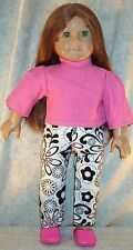 "Doll Clothes Made 2 Fit American Girl 18"" inch Sleepwear 2pcs Flowers Pink Black"