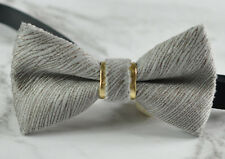 Unisex Men Fashion Silver Grey Embossed Velvet SOLID Bow Tie Bowtie Wedding Ball