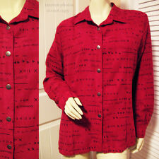Womens Button Down Shirt Top M Long Sleeve Collar Red Black Tribal Ethnic Print