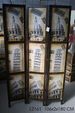 Paravento separe' citta' monumenti  Italiani 3 antine