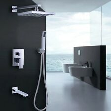 Modern Brass Wall Mounted Rain Shower Head Handshower Tub Spout Shower System