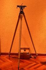 *Nivel Óptico Antiguo OPTIC SURVEYING LEVEL +tripod+wood box+tools THEODOLITE *
