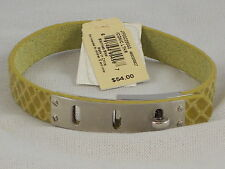 Fossil Brand Yellow Leather Iconic Turnlock Plaque Wrist Wrap Bracelet JF00226