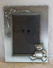 """Burnes of Boston Teddy Bear Silver Color Picture Photo Frame Holds 3.5"""" x 5"""""""