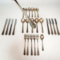 26 PC Vintage Art Deco WM Rogers Mfg Co 1933 Fidelis Silverplate Flatware