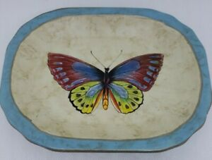 """Echo Point Collection Rustic Y2K Red Blue Butterfly Trinket Soap Dish 7x5"""" EUC"""
