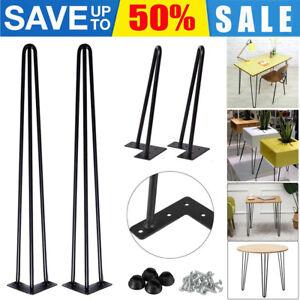 "4x Hairpin Table Desk Bench Legs Protector Feet Steel Metal  8'' 14"" 16"" 28"" UK"