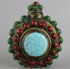 Collect Old Bronze Inlay Jade & Turquoise Carve Royal Family Noble Snuff Bottle