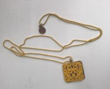 Karen Walker Filigree Rabbit Forest Gold and Yellow Charm Pendant Necklace