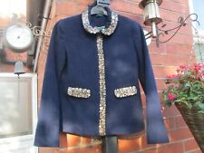 Boden Chic Navy  Embellished Wool Jacket Size 8-WE230