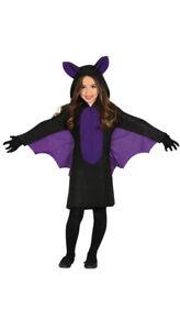 Fledermaus Kostüm mit Flügeln für Mädchen Kinder Halloween lila Kleid Gr. 98-146