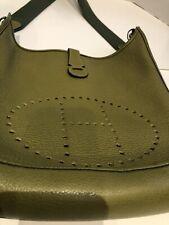 HERMES Evelyne GM Green Vert Leather Shoulder Bag