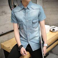 New Mens Boys Denim Casual Shirts Short Sleeve Slim Fit Jeans Tops Shirts