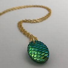 Mermaid Egg / Dragon Egg Scales Gold Plt  Necklace Pendant Green AB I030 Green