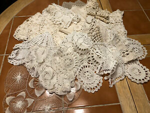 Vintage Crocheted Napkins Tablecloth Lot Of 15