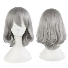 Harajuku Lolita Gray Silver Mix Hair Bob Short Wavy Curly Cosplay Wig Full Wig