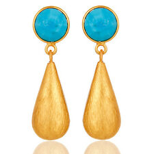 22K Gold Plated Silver Turquoise 32mm Dangle Earrings Gemstone Jewelry
