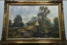 EUROPEAN FRENCH BARBIZON SCHOOL STYLE COTTAGE LANDSCAPE OIL PAINTING ART FRAMED