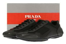 NEW PRADA MEN'S BLACK LEATHER LOGO DRIVER SNEAKERS SHOES 11.5/US 12.5