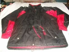 Men's BLACK/ RED SHINY Snowmobile Jacket DOUBLE ZIPPER SIZE M/WITH HOOD EUC