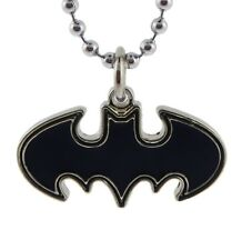 Batman Necklace Die Cut Black Jet Jewelry Superhero Pendant Stainless DC Comics