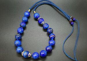 Lapis Lazuli Beaded Necklace Handmade Long Necklace 12MM Adjustable Necklace
