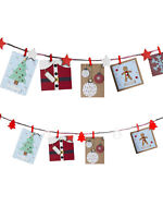 Christmas Card Holder Decoration Ornament Wooden Peg Hanging Red White Star Xmas