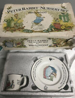 Peter Rabbit Nursery Childrens Dish Set by Wedgwood Beatrix Potter Vintage 3 Pcs