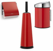 Brabantia Toilet Bathroom Set Brush Paper Holder Wall Bucket Passion Red