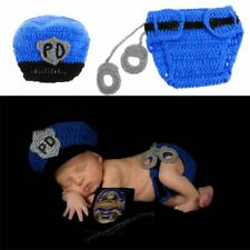 2x Newborn Police Design Photography Props Infant Toddler Costume Outfit Crochet