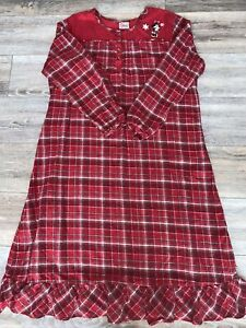 The Disney Store Exclusive Women's Large Long Nightgown Minnie Mouse Red Plaid